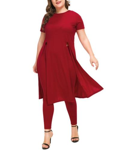 Plus Size Long Sleeve Mid-Length Round Neck Two Piece Sets