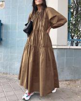 Solid Holiday Loose Pleated Crew Neck A-Line Maxi Dress