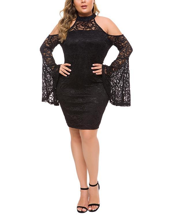 Plus Size Lace Strapless Flared Sleeve Dress