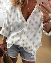 Daisy Print Lapel Deep V-Neck Blouse