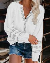 V-neck Loose Pullover Shirt