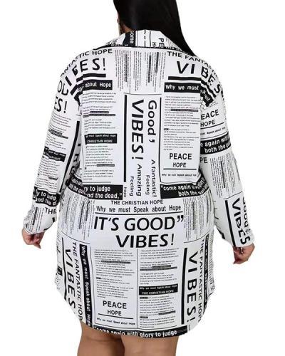 Plus Size Newspaper Print Ruffled Shirt Dress