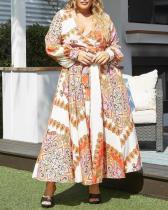 Plus Size V-neck Long-sleeved Lace-up Dress