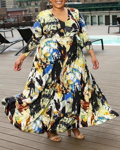 Plus Size Long Sleeve Print V-Neck Regular Fall Dress