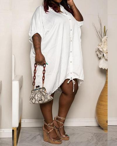 Asymmetric Lapel Half Sleeve Asymmetrical Casual Dress
