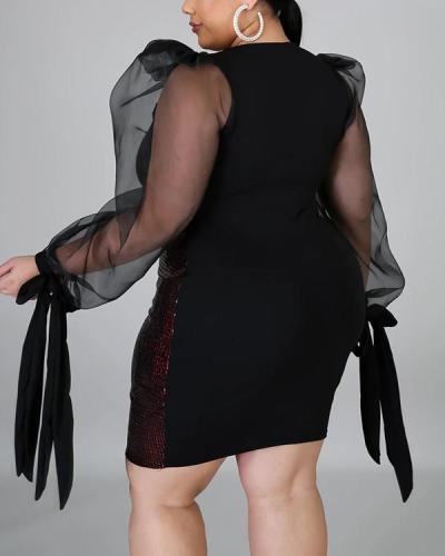 Plus Size Above Knee Round Neck Long Sleeve Fashion Fall Dress