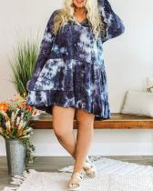 Tie-Dye Long Sleeve Above Knee High Waist Pullover Dress
