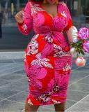 Plus Size V-Neck Long Sleeve Print Fall High Waist Dress