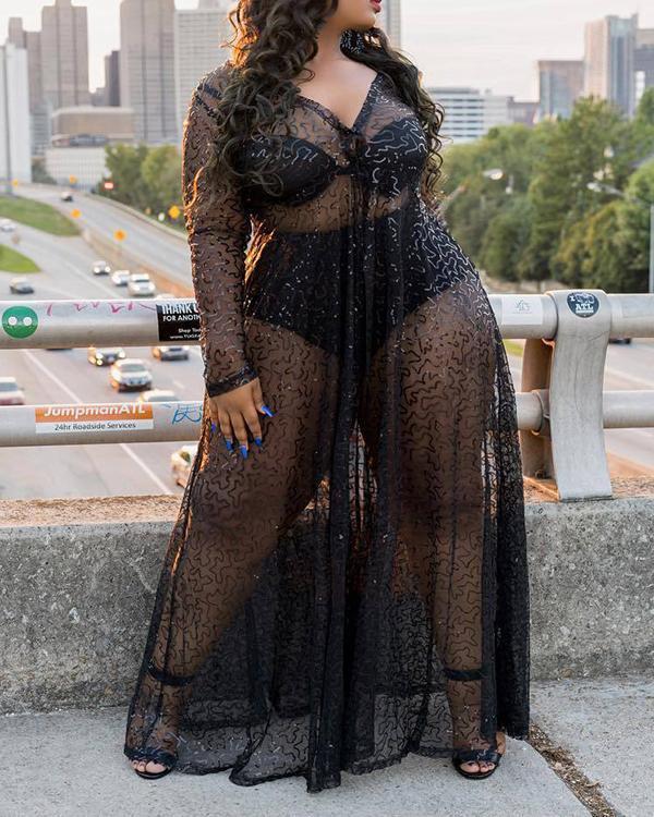 Plus Size Fashion Transparent Sexy Long Dress