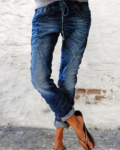Casual Vintage Drawstring Denim Trousers
