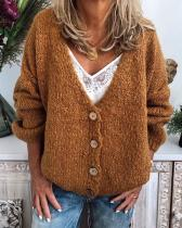 V-Neckline Solid Casual Loose Regular Buttons Sweaters