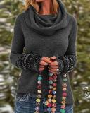 Tribal Vintage Cowl Neck Long Sleeve Shirts Plus Size Tops