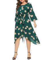 Plus Size Floral Print Tulip Hem Dress