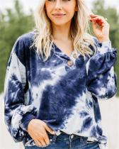V-neck Button Tie-dye Print Long Sleeve Sweatshirt