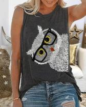 Animal Print Crew Neck Sleeveless Casual T-shirt