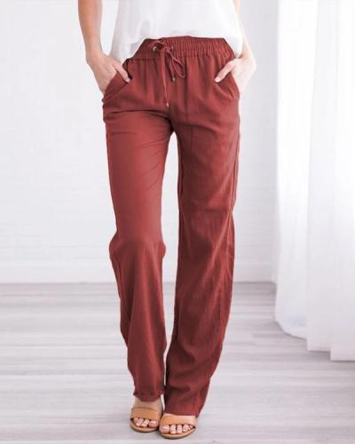 Women's Linen Cotton Straight Pants