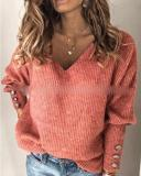 Solid Knit V-neck Loose Long Sleeve Sweater