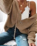Solid Knitted Zipper Sweater