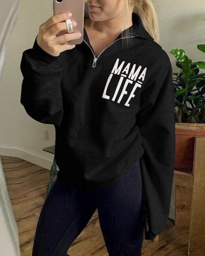 Mom Life Letter Printed Zip Sweatshirt