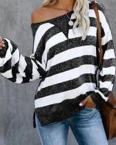 New Long Sleeve Striped Loose T-Shirt