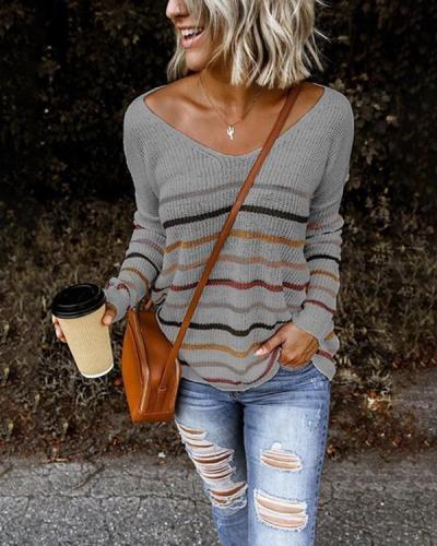 V-Neckline Stripe Casual Loose Regular Shift Sweaters