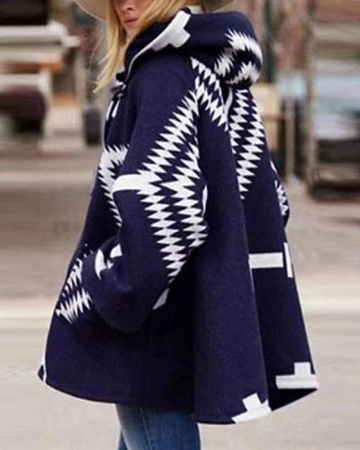 Oversized Side Pockets Print Hoodie Coat