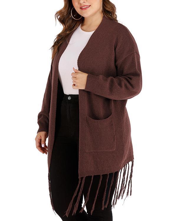 Large Pocket Long Fringed Knitted Cardigan Coat