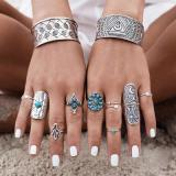 Jewelry-Silver 9 Piece Boho Ring Set