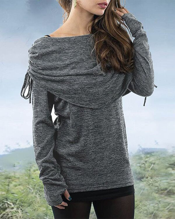 Women's Vintage Tribal Flat Shoulder Long Sleeve Pullover