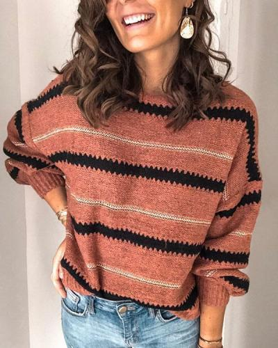 Stripe Leisure Long Sleeve Sweater Coat Round Collar Tops