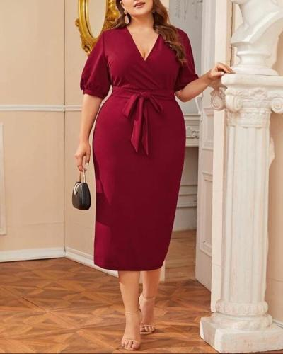 Plus Size Women's V-neck High Waist Dress