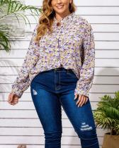 Plus Size Small Floral Long Sleeve Shirt
