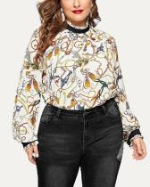 Plus Size Color Matching Small Stand-up Collar Printed Shirt