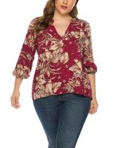 Plus Size Printed Floral Long Sleeve Blouse