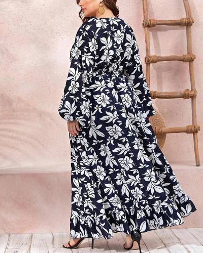 Fashion Printed Ruffled Waist Big Hem Dress