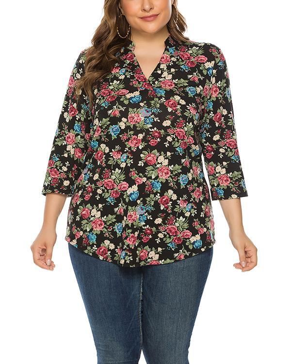 Plus Size Loose Pullover Print Top