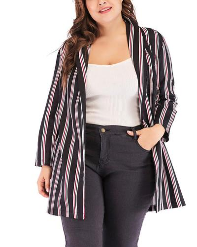 Temperament Casual Suit Chiffon Striped Jacket