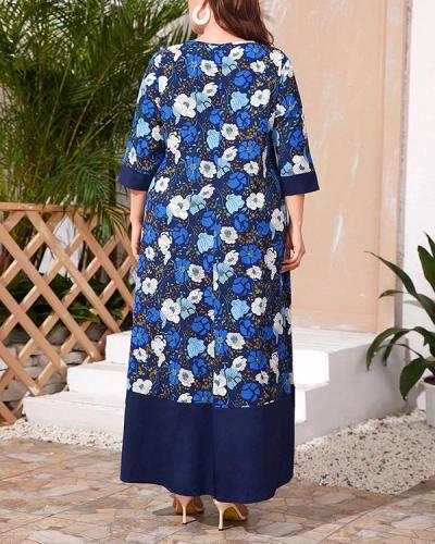 Plus Size Fashion Print Hit Color Big Swing Dress
