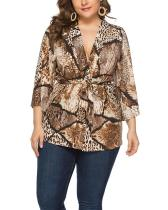 Plus Size Loose Snake Print Cardigan Lace Top