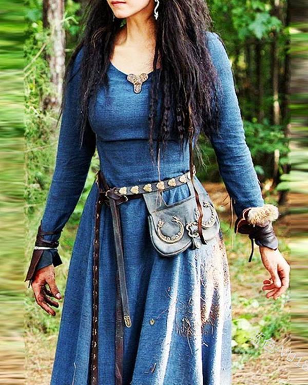 Autumn Vintage Ethnic Long Sleeve A-Line Dress