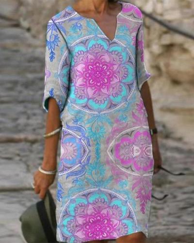Pink Women's Shift Dress Knee Length Dress