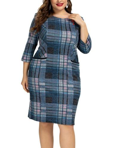 Plus Size Sexy Plaid Round Neckline Bodycon Dress