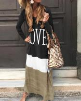 Color Block Contrast Letter Print Long Sleeve Maxi Shift Dress