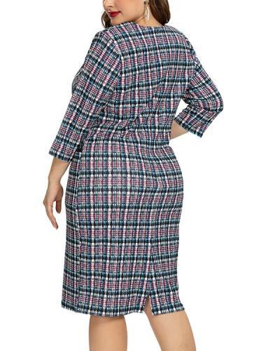 Plus Size Sexy Plaid Pencil Bodycon Dress