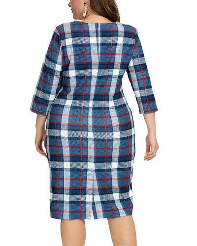 Plus Size Plaid Pencil Round Neckline Bodycon Dress