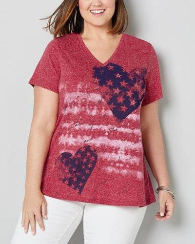 Casual Plus Size V Neck Summer Printed Top