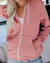 Women Hooded Zipper Casual Outerwear