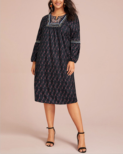 Printed Embroidered V-neck Plus Size Long Sleeve Dress