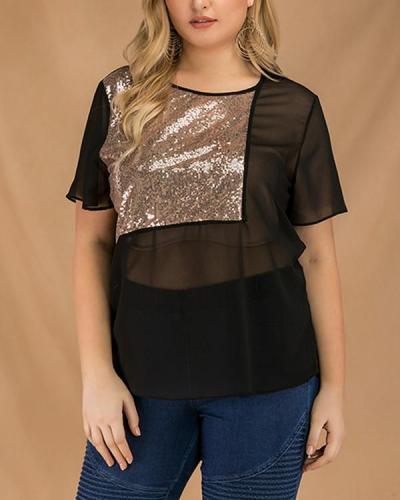 Summer Large Women's New Sequin Splicing Short Sleeve T-shirt