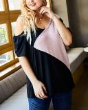 One-shoulder Sling Stitched Short-sleeved Loose Large Size Women's T-shirt